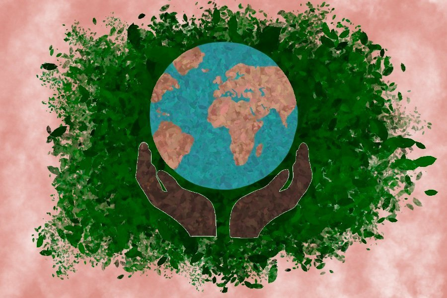 An illustration of two hands holding a globe in front of a peach background with green leaves.