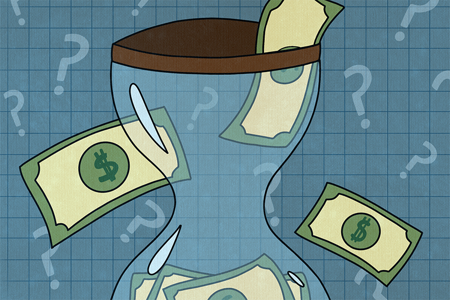 Illustration of an hourglass filled with green dollar bills. The lined blue background is filled with question marks.