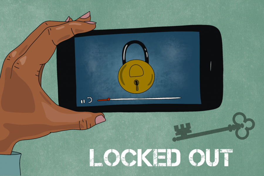 A hand holds a phone playing a video of a lock. The title Locked Out appears in white against a green background.