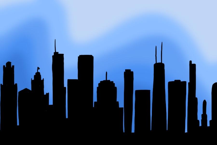A+black+skyline+of+Chicago+rests+on+a+blue+background.