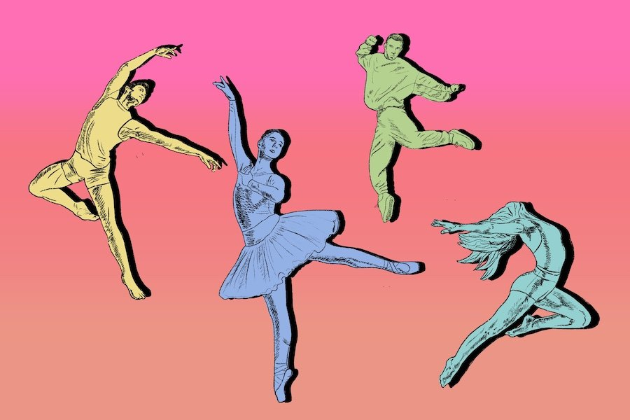 Four dancers on a pink and orange ombre background.