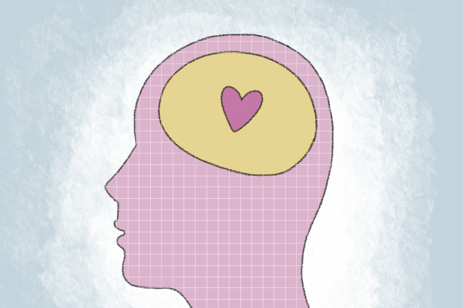A pink head with a heart where the persons brain is.