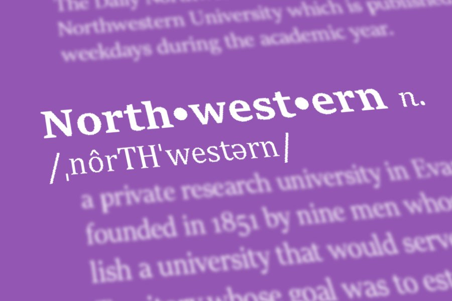 """White text on a purple background shows """"Northwestern"""" in a dictionary entry."""