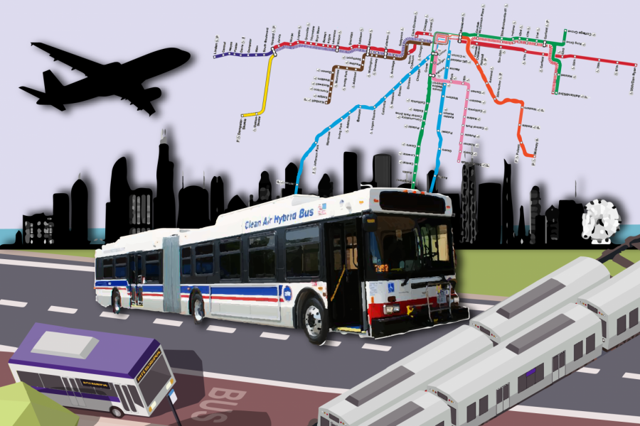 Layers of public transit, such as a bus, a train and a plane against a purple background