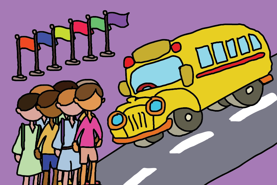 A yellow school bus on a road is on the right side of the image, seven students stand in the lower left corner, and six colorful flags stand in the upper left corner — all over a purple background.