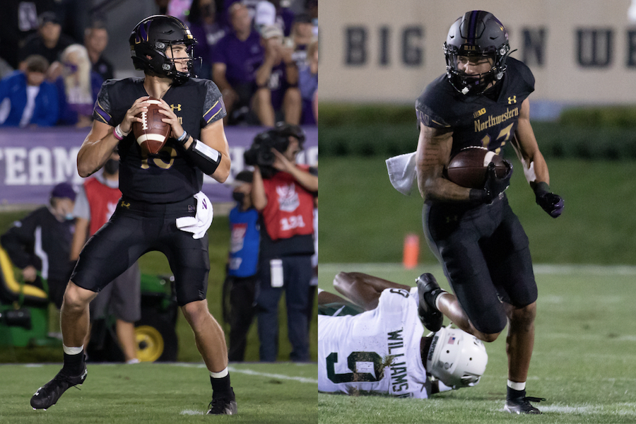 Left: Player in black uniform stands with football. Right: Player in black uniform holds football and runs from player.