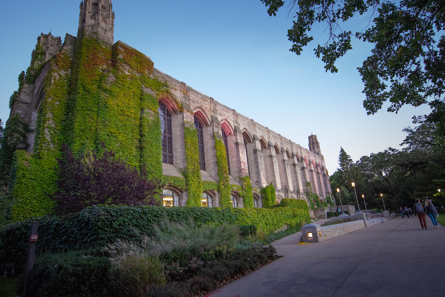 Deering library, a stone building with long glass pane windows covered in vines and adorned with red accent lighting.