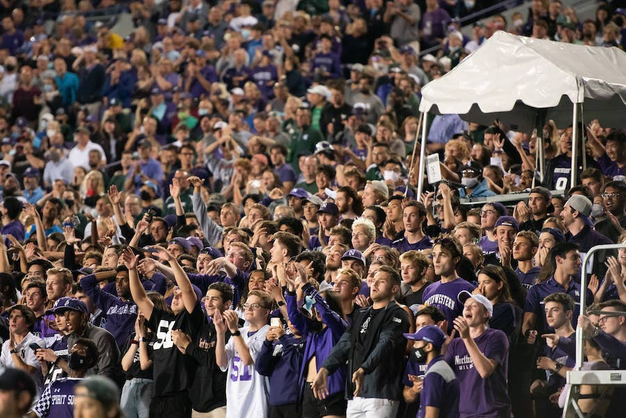 Fans showing support for Northwestern.