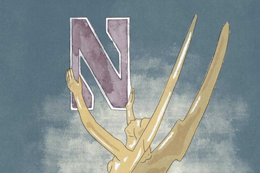 An Emmy Award holds up the purple Northwestern logo.