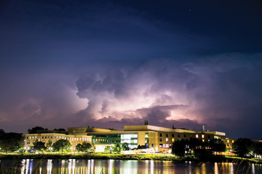 Photo of Northwestern's Evanston Campus while a storm is overhead.