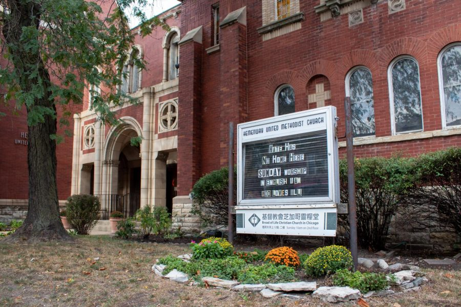 """The board in front of the Hemenway United Methodist Church reads """"Hate Has No Home Here."""