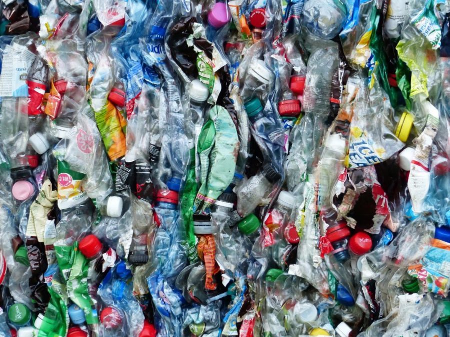 A collection of crushed plastic bottles.
