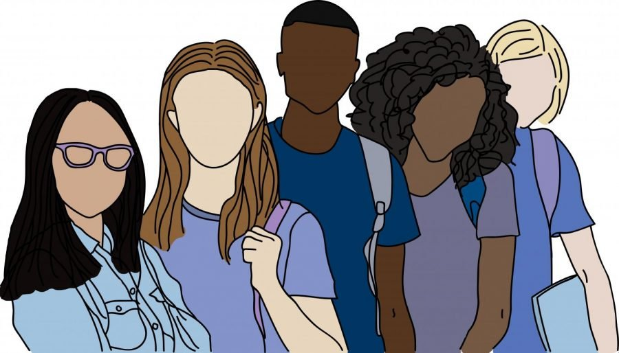 An illustration of five young people holding backpacks and books