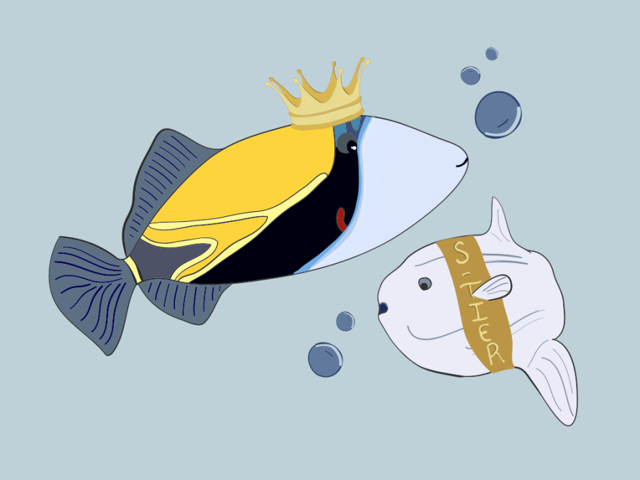 An illustration of two fish: the Humuhumunukunukuāpuaa wearing a crown and Ocean Sunfish wearing a sash reading S-tier.