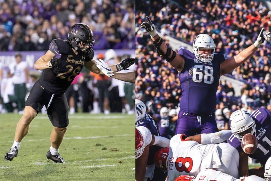 Left: Player in black uniform runs on green grass. Right: Player in purple uniform celebrates