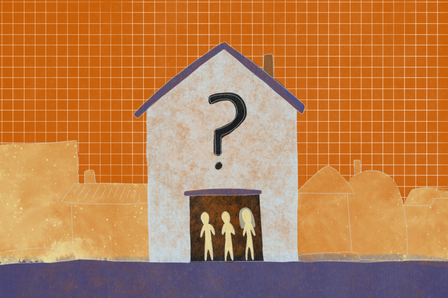 Three light yellow figures, one with long hair, stand in the open doorway of a bright orange house with a black question mark printed on it and a purple roof, against an orange graph paper background.