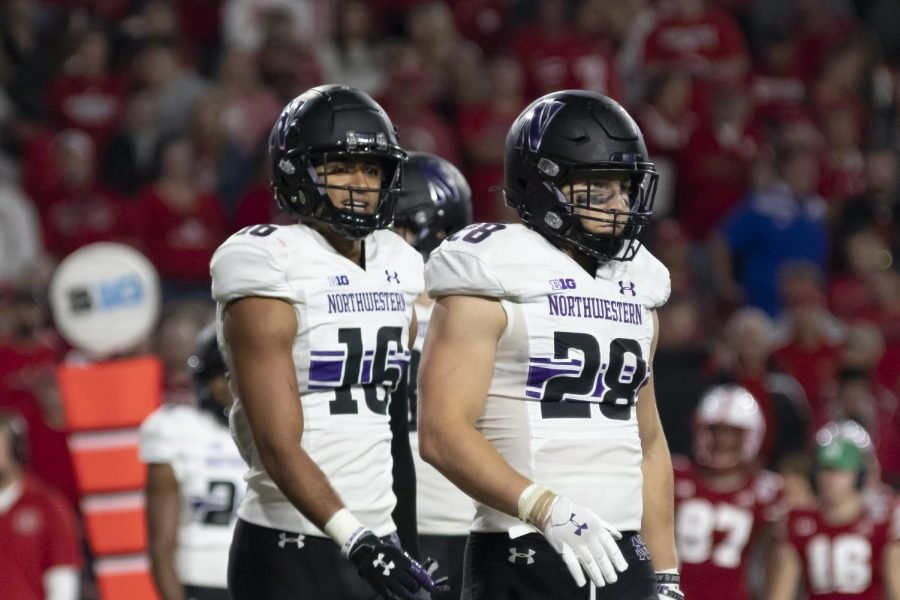 Brandon Joseph and Chris Bergin survey the field in between plays. Northwestern's defense is looking to recover from a 56-7 loss to Nebraska, in which it gave up 657 total yards.