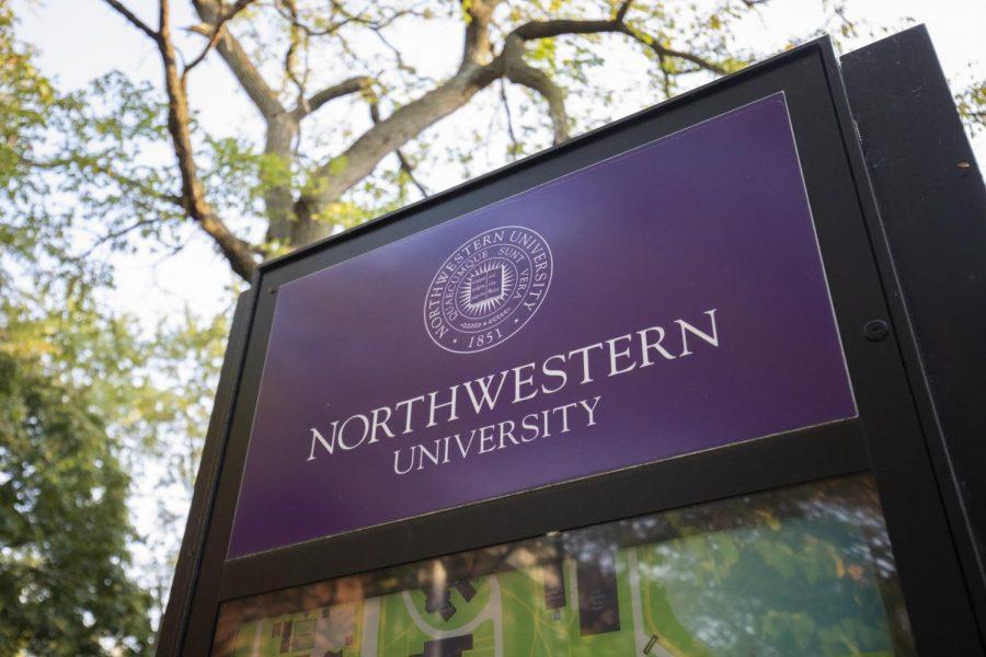 A purple photo of a sign reading, Northwestern University.