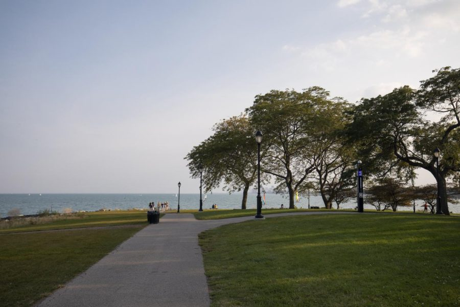 The Northwestern lakefill on a cloudy day, with green grass leading up to water and rocks.