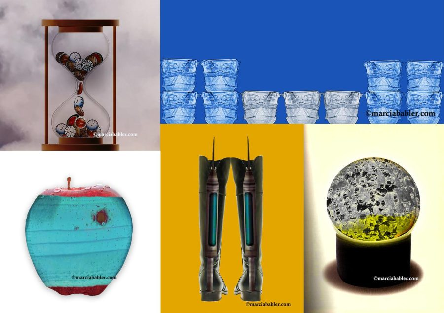 """Four artworks from Marcia Babler's virtual exhibit. Her piece """"In Our Time"""" on the top left depicts clocks moving through an hourglass. """"Bruised"""" on the bottom right depicts an apple with a bloodied face mask over it. """"Cup of Kindness"""" on the top right, depicts 11 cups with frontliner faces on them over a blue background. """"Re-Boot"""" in the bottom middle depicts the backside of a pair of boots with a syringe protruding from the top. """"In This Together"""" on the bottom right depicts a crowd of people inside a snow globe."""
