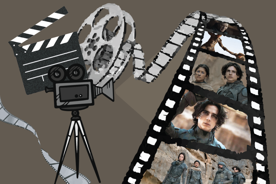 Black film strip with brown and black photos picturing a few different people in each frame. To the left is a black camera graphic, a director's clapboard and another gray film strip.