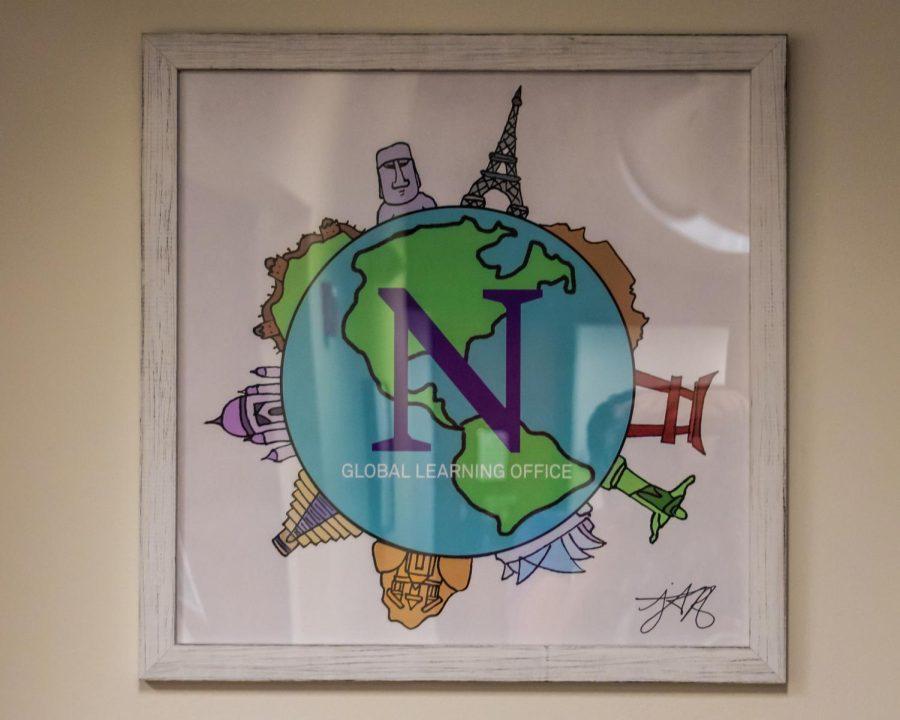A framed poster advertising Northwestern's Global Learning Office.