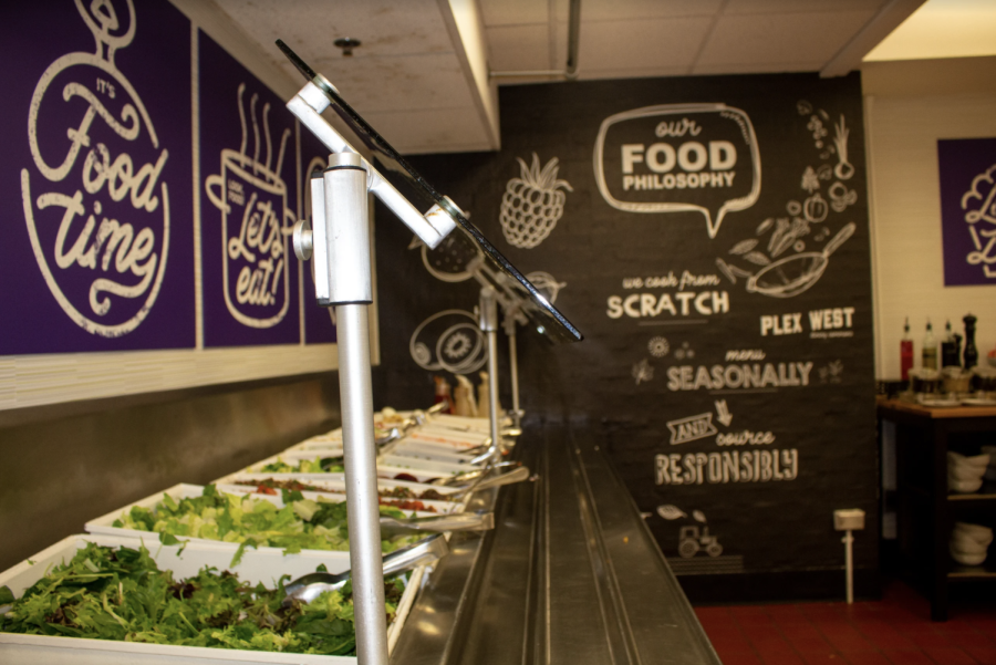 Plex West salad bar, lettuce, mixed greens pictured at a diagonal angle. Walls in back purple and black with food quotes.