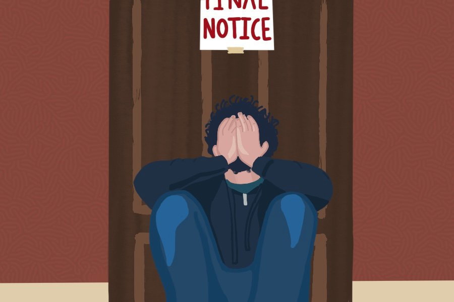 """Illustration of a person with dark curly hair, wearing a blue hoodie and jeans, sitting on a front stoop outside of a wooden door with their head in their hands. The door, which is set against a dark red wall, has a sign taped to it reading """"final notice"""" in dark red letters."""