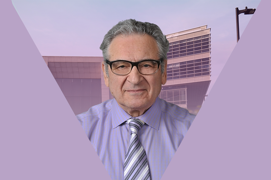 A graphic of Bienen Prof. Victor Yampolsky in front of the Ryan Center for the Musical Arts.